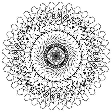 기하학적 인 무색 된 만다라 요소입니다. 동심, 나선형 추상 그래픽