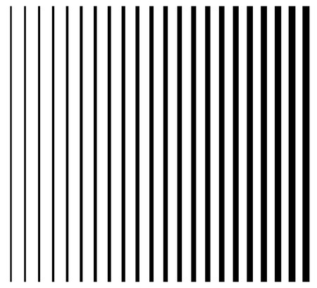 vanish: Lines from thin to thick. Set of 22 straight, parallel vertical lines, stripes.