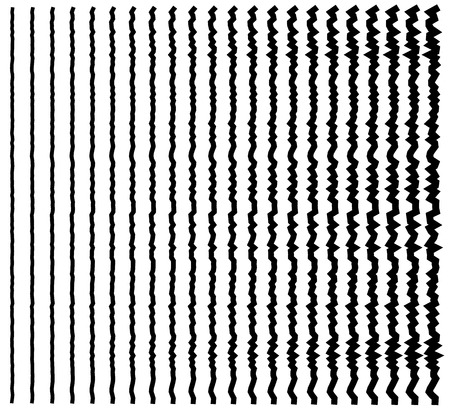 vertical dividers: Irregular lines. Set of 22 distorted lines from thin to thick. Illustration