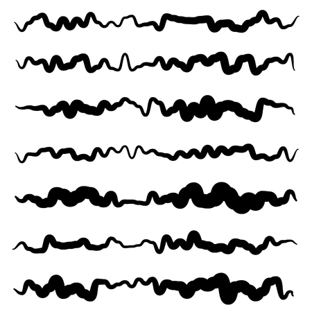 squiggly: Abstract irregular line set. Different wavy, zigzag dividers, lines.