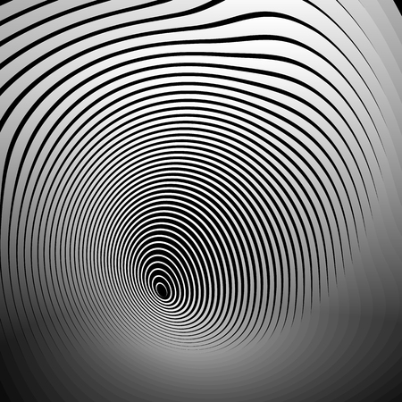 deformation: Concentric shapes with deformation effect. Abstract grayscale graphics.