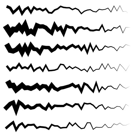 wriggle: Abstract irregular line set. Different wavy, zigzag dividers, lines.