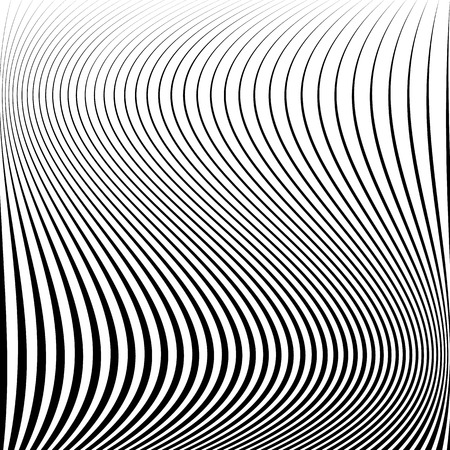 billow: Wavy dynamic irregular lines pattern. Stripes with waving distortion. Minimal lined texture, background.