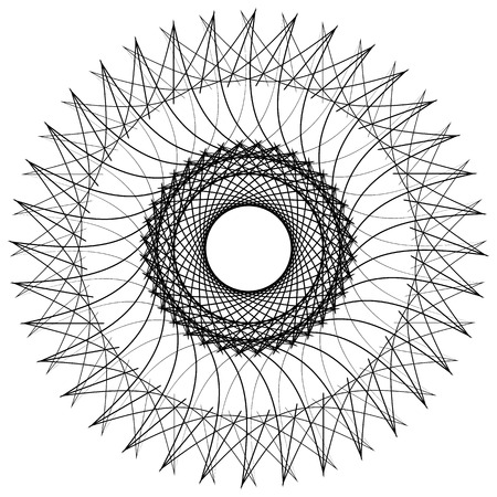 uncolored: Geometric uncolored mandala element. Concentric, spirally abstract graphic