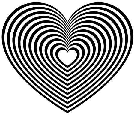 Hartvorm met stralende contouren. Gestileerde hart vorm voor liefde, genegenheid concepten. Vector Illustratie
