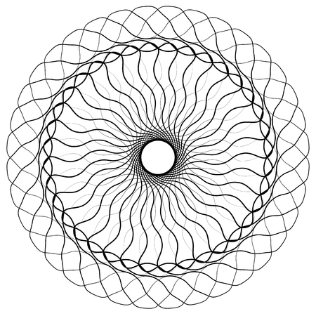 Geometric uncolored mandala element. Concentric, spirally abstract graphic