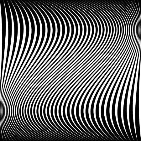 camber: Wavy dynamic irregular lines pattern. Stripes with waving distortion. Minimal lined texture, background.