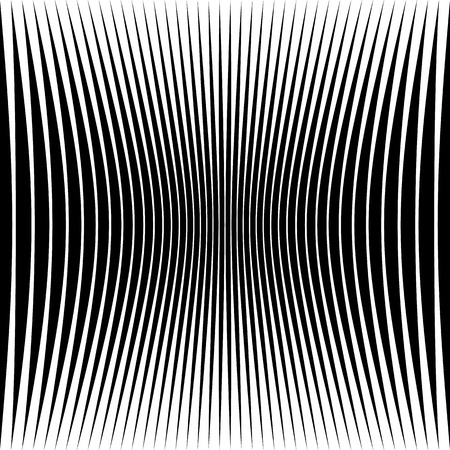 curvature: Abstract geometric pattern with squeezed-compressed distortion effect on lines, stripes. Abstract artistic monochrome background Illustration