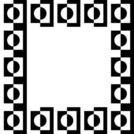 pictureframe: Geometric picture, photo frame in squarish format. Mosaic of geometric shapes. Monochrome  border element.