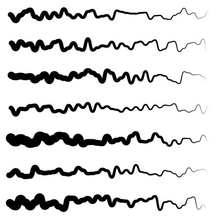 oscillate: Abstract irregular line set. Different wavy, zigzag dividers, lines.