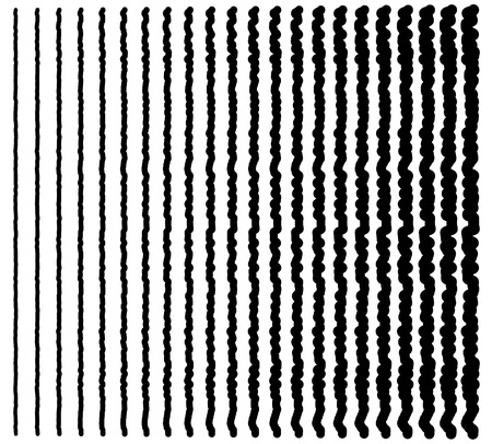 equaliser: Irregular lines. Set of 22 distorted lines from thin to thick. Illustration