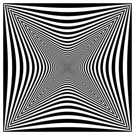 bloat: Abstract contrasty distorted shape with alternating black and white radiating lines.