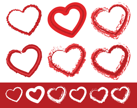 haert: Painted heart shapes. Set of 6 different grungy contour lines of heart shapes with 2 shades of red with white versions included Illustration