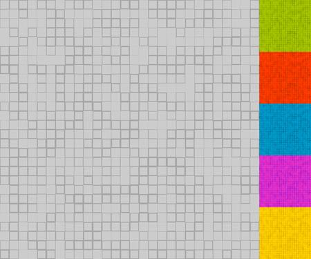 quadrant: Set of mosaic patterns with random squares (5 colors + grayscale version) Illustration