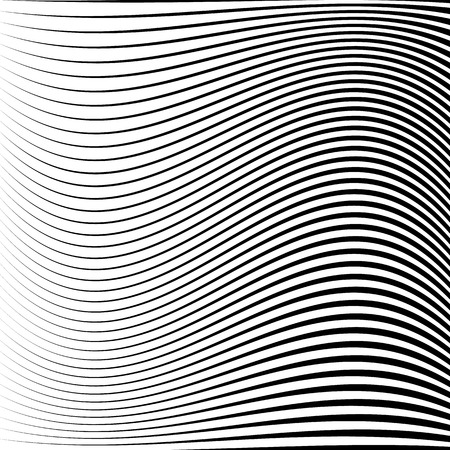 Wavy dynamic irregular lines pattern. Stripes with waving distortion. Minimal lined texture, background.