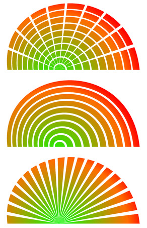 vertical bars: Radial elements with spectrum fill. Set of 3 circular, semicircle shaped elements. Bars, horizontal and vertical radiating lines.