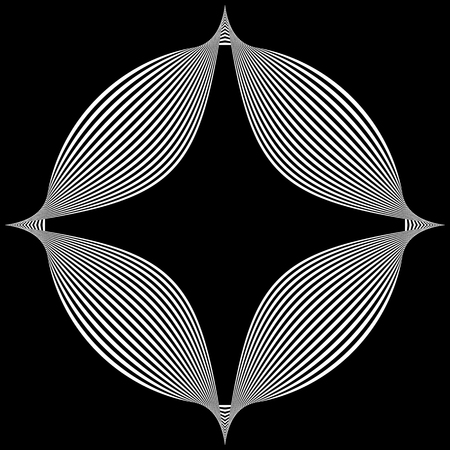 metamorphosis: Abstract pointed element. Pointed, spiky shape blending into a circle. Geometric artistic element