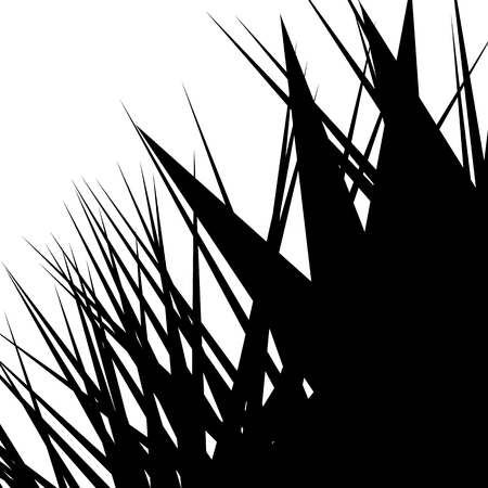 thorny: Asymmetric, irregular element with scattered edgy, pointed shape. Sharp, spiky monochrome graphic  background.
