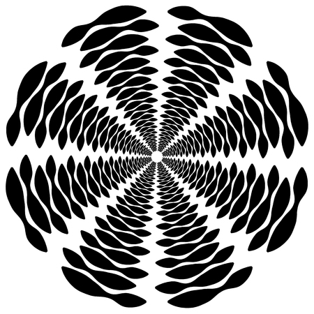 whorl: Circular, rotating spiral, vortex element, motif. Abstract geometric shape. Non-figural monochrome illustration.
