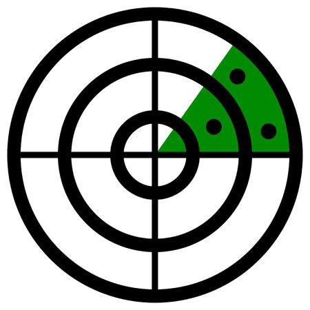blip: Radar screen symbol, clip art with targets. Radar icon. Illustration