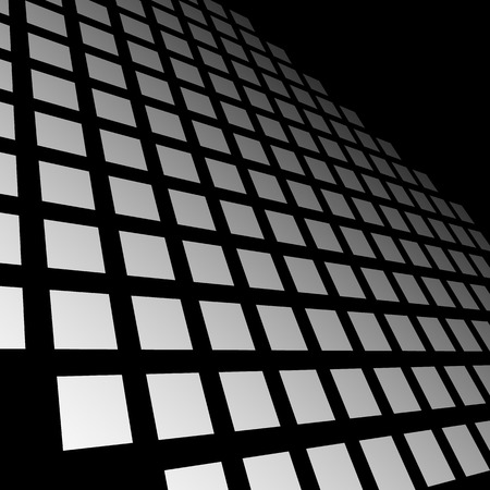 blocky: Fading mosaic of squares. Vanishing pattern in perspective. Illustration
