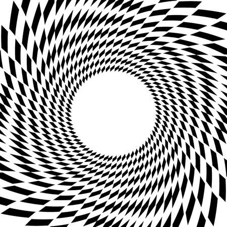 mesmerize: Abstract spiral, vortex element with radiating rectangle shapes. Rotating monochrome, black and white graphic Illustration