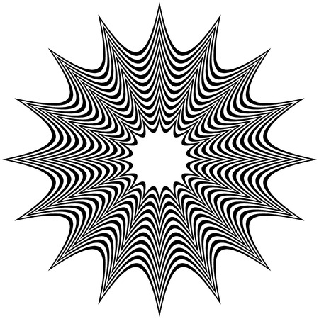 distort: Abstract contrasty distorted shape with alternating black and white radiating lines.