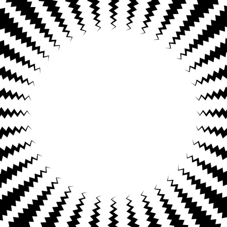 jagged: Abstract radiating lines element. Jagged, zigzag (wavy) lines converging. Abstract monochrome element. Illustration