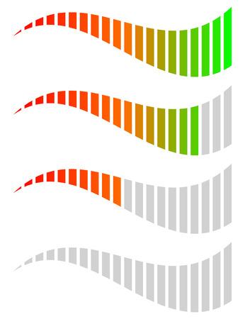 benchmark: Horizontal level, progress, completion indicators. Steps, phases, stages, comparison bar elements.
