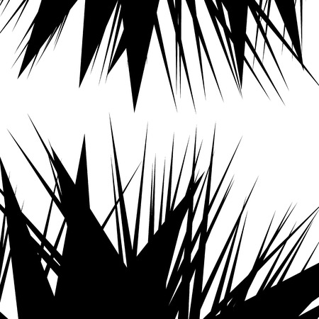 spiky: Asymmetric, irregular element with scattered edgy, pointed shape. Sharp, spiky monochrome graphic  background.
