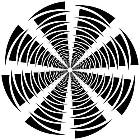 Circular, rotating spiral, vortex element, motif. Abstract geometric shape. Non-figural monochrome illustration.