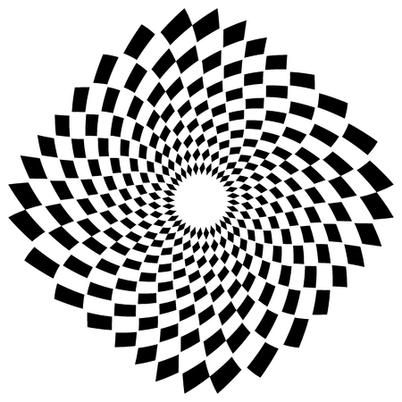 dizziness: Abstract spiral, vortex element with radiating rectangle shapes. Rotating monochrome, black and white graphic Illustration