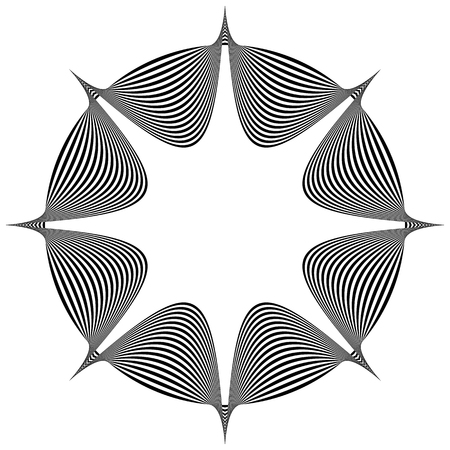 tweak: Abstract pointed element. Pointed, spiky shape blending into a circle. Geometric artistic element