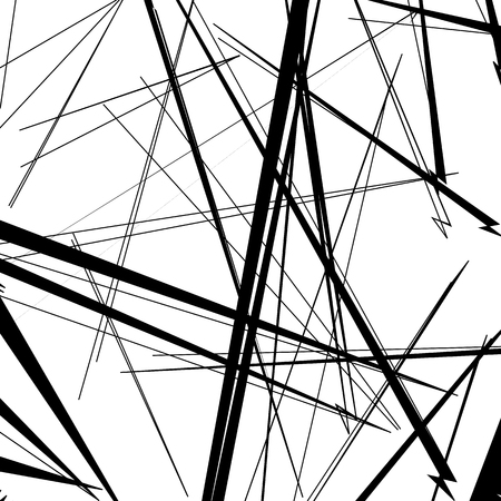 Abstract, irregular lines pattern, background. Monochrome geometric art. Vektorové ilustrace
