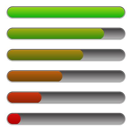 progression: Horizontal progress, loading bars to illustrate progression, steps, phases, completion