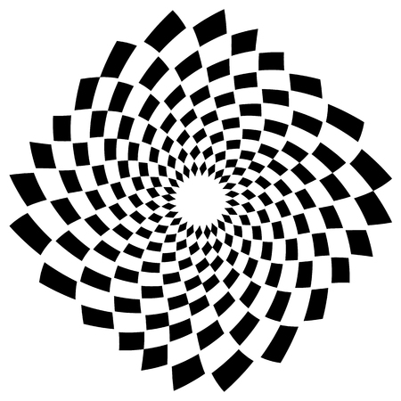 hypnotism: Abstract spiral, vortex element with radiating rectangle shapes. Rotating monochrome, black and white graphic Illustration
