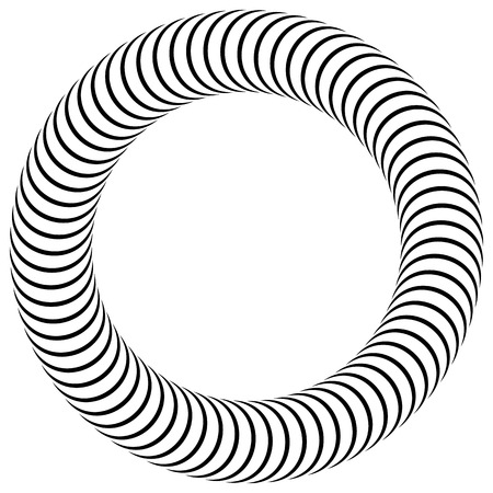single coil: Curved, bent lines forming a circle. Circular black and white element.