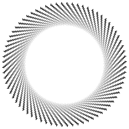 centric: Abstract radiating lines element. Jagged, zigzag (wavy) lines converging. Abstract monochrome element. Illustration