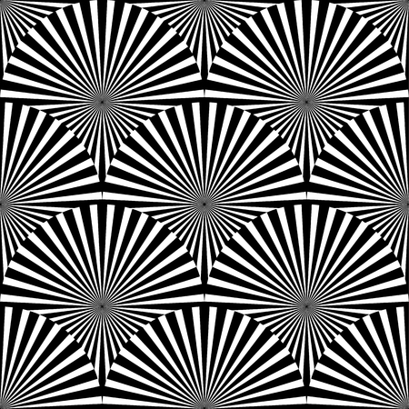 radiating: Geometric monochrome pattern with overlapping circles containing radial, radiating lines