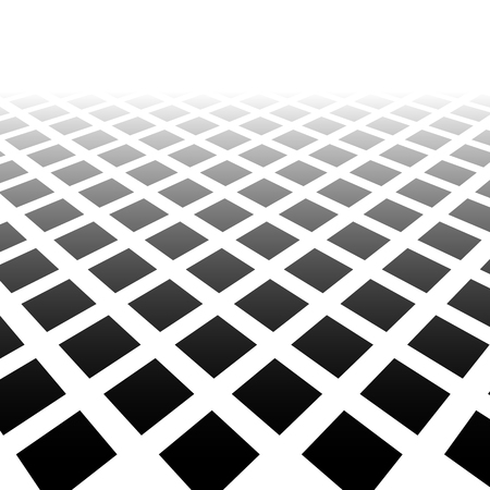 diminishing point: Fading mosaic of squares. Vanishing pattern in perspective. Illustration