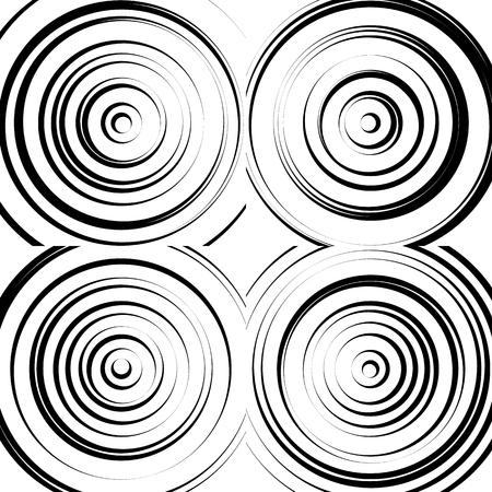 cercles concentriques monochrome abstrait. émet des cercles, des anneaux.