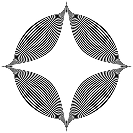 spiky: Abstract pointed element. Pointed, spiky shape blending into a circle. Geometric artistic element