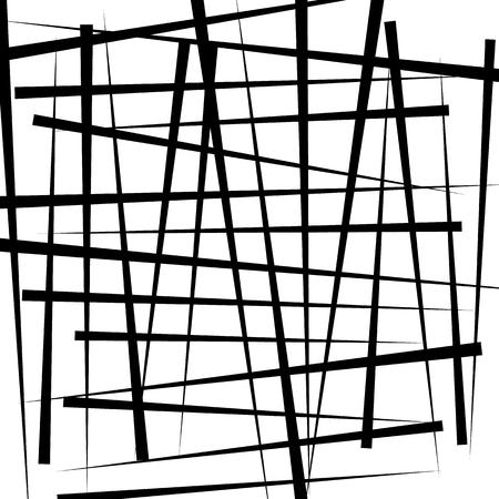 intersecting: Random intersecting irregular lines - Monochrome abstract illustration Illustration