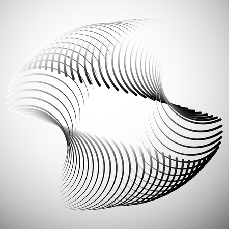 curved lines: Abstract element with intersecting curved lines. Grayscale geometric abstract shape.