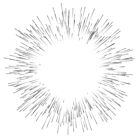 Abstract explosion, bursting effect, radial, radiating edgy lines. Abstract monochrome graphics Ilustração