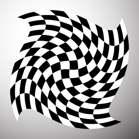 deformed: Checkered shape with spirally vortex effect. Distorted, deformed element with squared fill. Illustration