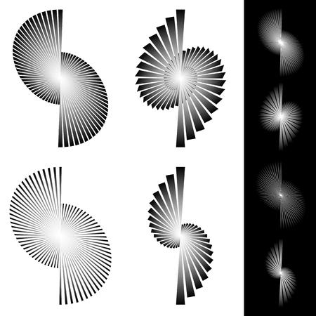 irregular: Radiating irregular beams, rays. Converging lines design elements. Illustration