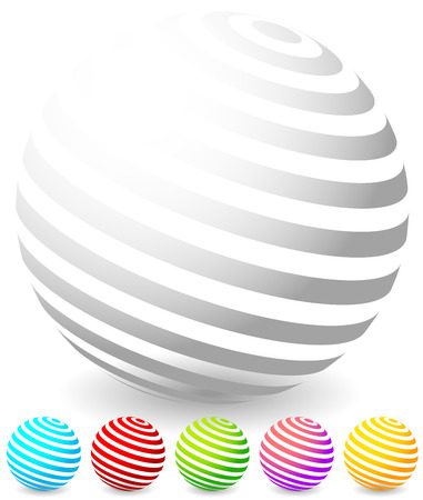 yellow banded: Striped spheres in 6 colors. 3d geometric orbs, balls. Generic icons, design elements.