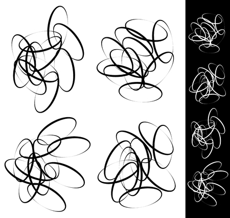 snaky: Random, scattered circle, ellipse, oval element set. Abstract monochrome graphic elements