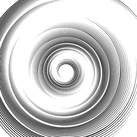 flexure: Spiral pattern. Vortex, volute visual effect - Abstract monochrome illustration.